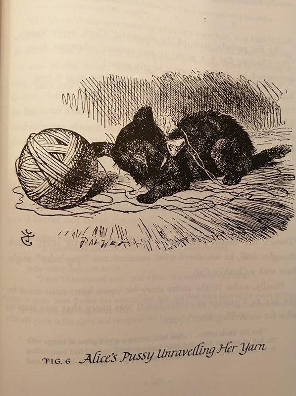 Line art showing kitten and yarn