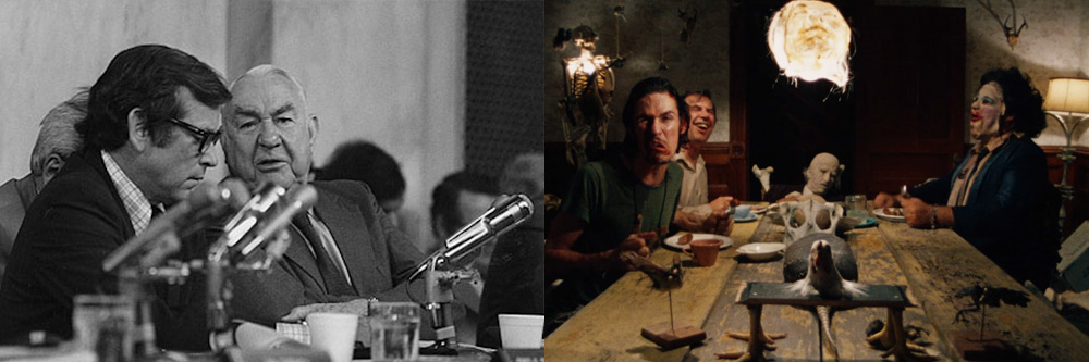 Watergate Committee Meeting and Texas Chain Saw dinner table